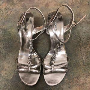 Jacqueline Ferrar Silver Gem Low Heeled Sandals